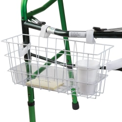 "HealthSmart® Walker Basket With Tray And Cup Holder, 7""H x 16""W x 5 1/2""D, White"