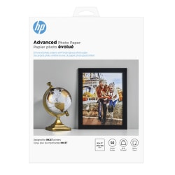 """HP Advanced Photo Paper for Inkjet Printers, Glossy, Letter Size (8 1/2"""" x 11""""), 66 Lb, Pack Of 50 Sheets (Q7853A)"""