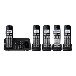 Panasonic® DECT 6.0 Cordless Phone With Answering Machine And 5 Handsets, KX-TGE445B