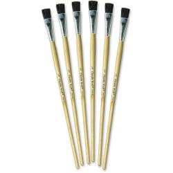 "Creativity Street 1/2"" Tempera Brush Set - 6 Brush(es) - 0.50"" Wood Natural Handle - Aluminum Ferrule"