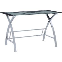 "Powell Fulcher 48""W Glass Map Desk, Chrome"