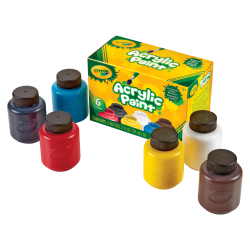 Crayola 6-color Acrylic Paint Set - 2 oz - 6 / Set - Deep Red, Brilliant Yellow, Burnt Umber, Ivory Black, Titanium White, Brilliant Blue