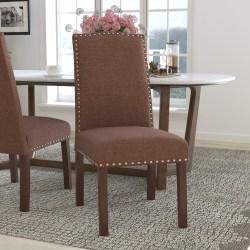 Flash Furniture Hercules Hampton Hill Parsons Chair With Accent Nail Trim, Brown