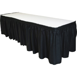 """Tablemate Disposable Tableskirt - 29"""" Length x 14 ft Width - Adhesive Backing - Linen - Black - 1 Each"""