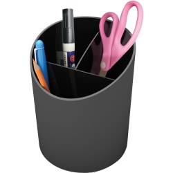 """Deflecto Sustainable Office Recycled Large Pencil Cup - 5.6"""" x 4.4"""" x 4.4"""" - 1 Each - Black"""