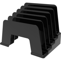 "deflecto Small Incline Sorter - 5 Compartment(s) - 6"" Height x 8"" Width x 5.5"" Depth - Desktop - Recycled - Black - Plastic - 1Each"