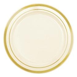 "Amscan Trimmed Premium Plastic Plates, 6-1/4"", Cream/Gold, Pack Of 40 Plates"
