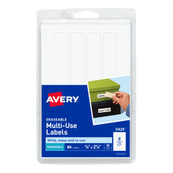 "Avery® Permanent Erasable Multipurpose Labels, 5429, 7/8"" x 2 7/8"", White, Pack Of 80"