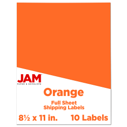 "JAM Paper® Full-Page Mailing And Shipping Labels, 337628612, 8 1/2"" x 11"", Orange, Pack Of 10"