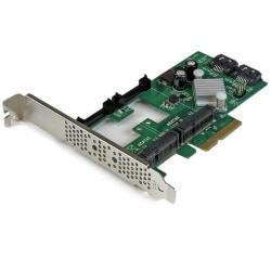 StarTech.com 2 Port PCI Express 2.0 SATA III 6Gbps RAID Controller Card w/ 2 mSATA Slots and HyperDuo SSD Tiering - Serial ATA/600 - PCI Express 2.0 x4 - Plug-in Card - RAID Supported - JBOD, 1, 0, 10 RAID Level - 2 Total SATA Port)