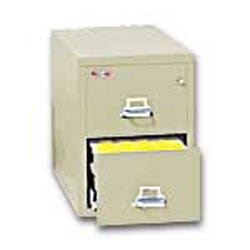"FireKing® 25""D Vertical 2-Drawer Legal-Size File Cabinet, Metal, Parchment, White Glove Delivery"