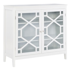 """Linon Home Decor Products Wyatt 38""""W 2-Door Large Cabinet, White"""