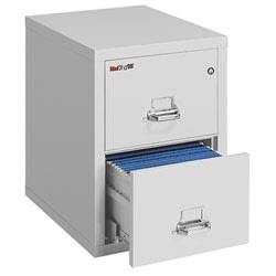 """FireKing® 25""""D Vertical 2-Drawer Legal-Size File Cabinet, Metal, Platinum, White Glove Delivery"""