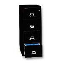 "FireKing® 25""D Vertical 4-Drawer Letter-Size File Cabinet, Metal, Black, White Glove Delivery"