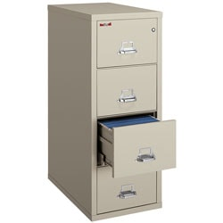 """FireKing® 25""""D Vertical 4-Drawer Legal-Size File Cabinet, Metal, Parchment, White Glove Delivery"""