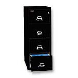 """FireKing® 25""""D Vertical 4-Drawer Legal-Size File Cabinet, Metal, Black, White Glove Delivery"""