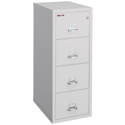 """FireKing® 25""""D Vertical 4-Drawer Legal-Size File Cabinet, Metal, Platinum, White Glove Delivery"""
