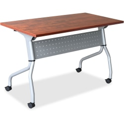 "Lorell® Flip Top Training Table, 60""W, Cherry/Silver"