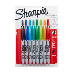 Sharpie® Retractable Permanent Markers, Ultra-Fine Point, Assorted, Pack Of 8
