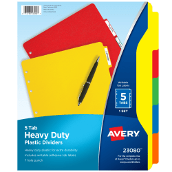 """Avery® Heavy Duty Plastic Dividers With White Tab Labels, 8 1/2"""" x 11"""", Multicolor, 5-Tab"""