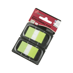 "SKILCRAFT® 70% Recycled Self-Stick Marker Flags,1"" x 1 3/4"", Bright Green, 50 Flags Per Pad, Pack Of 2 (AbilityOne 7510-01-399-1152)"