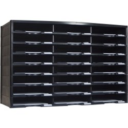 "Storex Stackable Literature Sorter - 12000 x Sheet - 24 Compartment(s) - 9.50"" x 12"" - 20.5"" Height x 14.1"" Width31.4"" Length - Black - Plastic, Polystyrene - 1Each"