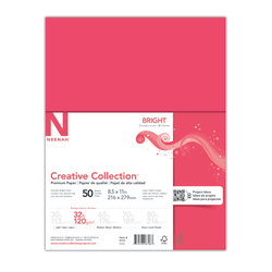 """Neenah Brights® Bright Color Paper, Letter Size (8 1/2"""" x 11""""), 32 Lb, Bright Red, 50 Sheets"""