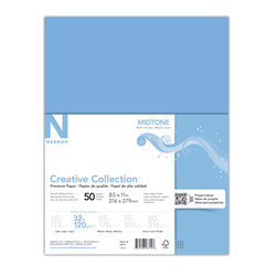"""Neenah® Creative Collection™ Midtone Specialty Paper, Letter Size (8 1/2"""" x 11""""), FSC® Certified, Blue, Pack Of 50 Sheets"""