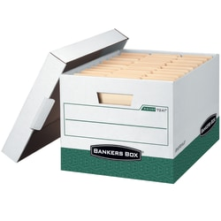 "Bankers Box® R Kive® Heavy-Duty Storage Boxes With Locking Lift-Off Lids And Built-In Handles, Letter/Legal Size, 15"" x 12"" x 10"", 60% Recycled, White/Green, Case Of 12"