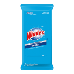 Windex® Original Glass/Surface Wipes - Wipe - 12 / Carton - White