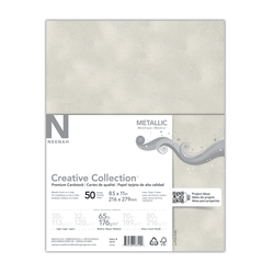 """Creative Collection™ Metallic Specialty Card Stock, Letter Size (8 1/2"""" x 11""""), White Silver, Pack Of 50 Sheets"""