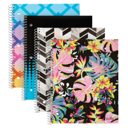 "Office Depot© Brand Fashion Stellar Poly Notebook, 8"" x 10 1/2"", College Ruled, Perforated, Assorted Designs (No Design Choice), 80 Sheets"