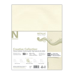 """Creative Collection™ Metallic Specialty Card Stock, Letter Size (8 1/2"""" x 11""""), Champagne Pearl, Pack Of 50 Sheets"""