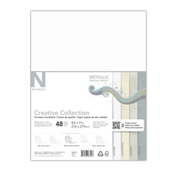 "Neenah® Creative Collection™ Metallic Midtone Card Stock, Letter Size (8 1/2"" x 11""), 65 Lb, FSC® Certified, Assorted Colors, 48 Sheets"