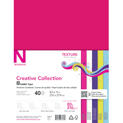 "Neenah® Creative Collection™ Textured Paper, Letter Size (8 1/2"" x 11""), 80 Lb, Assorted Bright Colors, 40 Sheets"