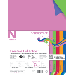 "Neenah® Creative Collection™ Double-Color Textured Card Stock, 8 1/2"" x 11"", 70 lb, Assorted Colors, Pack Of 40"