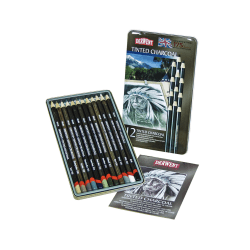 Derwent Tinted Charcoal Pencil Set, 8 mm, Assorted Colors, Set Of 12