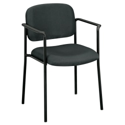 HON® Scatter Stacking Guest Chair, Fixed Arms, Fabric, Charcoal/Black