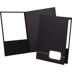 "Oxford™ Monogram Executive Twin Pocket Portfolios, 9"" x 11 7/8"", Black/Gold, Pack Of 4"