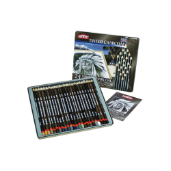 Derwent Tinted Charcoal Pencil Set, 8 mm, Assorted Colors, Set Of 24