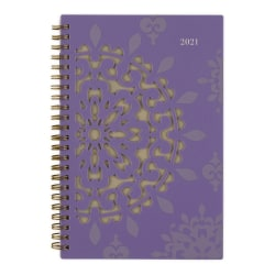 """Cambridge® Vienna Weekly/Monthly Planner, 5-1/2"""" x 8-1/2"""", Purple, January to December 2021, 122-200"""