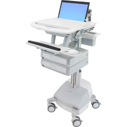 """Ergotron StyleView Laptop Cart, SLA Powered, 2 Drawers - Up to 17.3"""" Screen Support - 22 lb Load Capacity - 50.5"""" Height x 18.3"""" Width x 30.8"""" Depth - Floor Stand - Aluminum - White, Gray"""