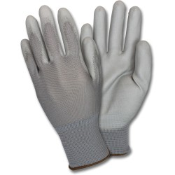 Safety Zone Gray Coated Knit Gloves - Abrasion, Hand Protection - Polyurethane Coating - Large Size - Nylon - Gray, Gray - Finger Protection, Flexible, Comfortable, Breathable, Knitted - For Industrial - 72 / Carton