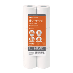 "Office Depot® Thermal Paper Rolls, 2 1/4"" x 50', White, Pack Of 6"