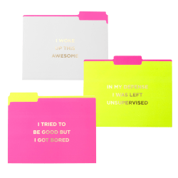 "Gartner™ Studios Soft-Touch Fashion Brights File Folders, 8-1/2"" x 11"", Letter Size, Assorted Colors, Pack Of 6 Folders"