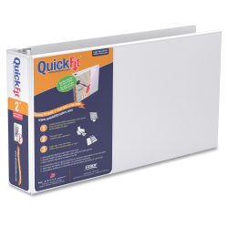 """Stride QuickFit® Landscape 3-Ring Binder, 1"""" Round Rings, 46% Recycled, White"""