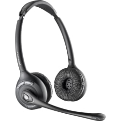 Plantronics 86920 01 Wireless Headset Only Dect 6 0 Stereo Wireless Dect 6 0 350 Ft Over The Head Binaural Supra Aural Noise Cancelling Microphone Office Depot