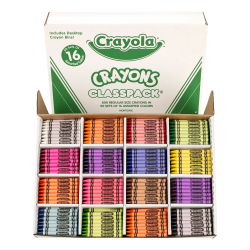 Crayola® Classpack® Standard Crayons, 16 Assorted Colors, Pack Of 800 Crayons
