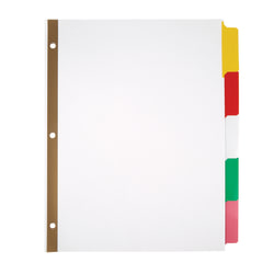 Office Depot® Brand Erasable Big Tab Dividers, 5-Tab, Assorted Colors