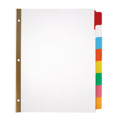 Office Depot® Brand Erasable Big Tab Dividers, 8-Tab, Assorted Colors